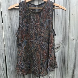 ASTR Beaded Neckline Paisley Chiffon Top